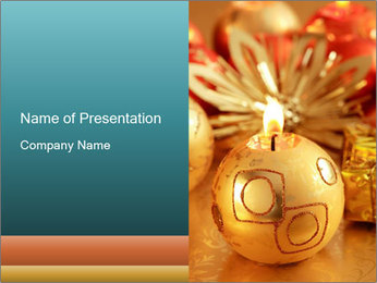 Golden Decor for Christmas PowerPoint Template