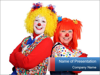 Man and Woman in Clown Costumes PowerPoint Template