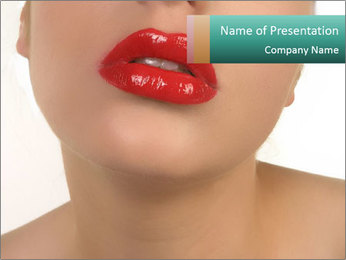 Lady with Glossy Red Lips PowerPoint Template