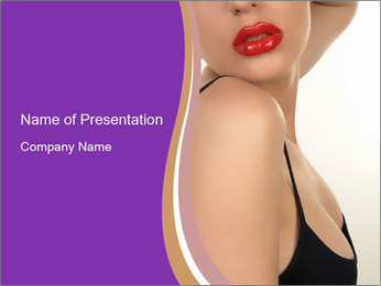 Glossy Rred Lips PowerPoint Template