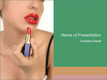 Model Advertising Red Lipstick PowerPoint Template