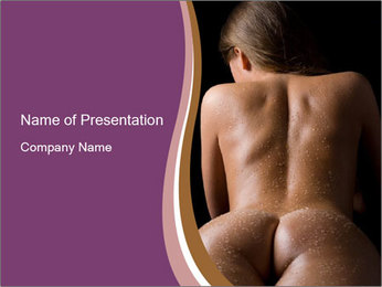 Naked Woman in Sauna PowerPoint Template