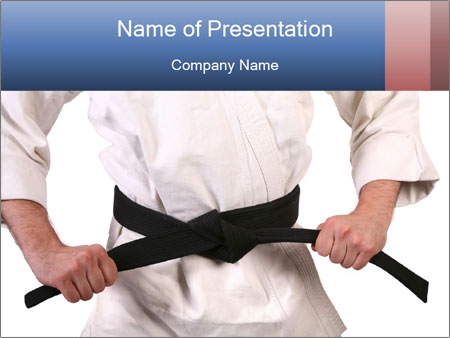 white kimono with black belt powerpoint template & backgrounds id, Presentation templates