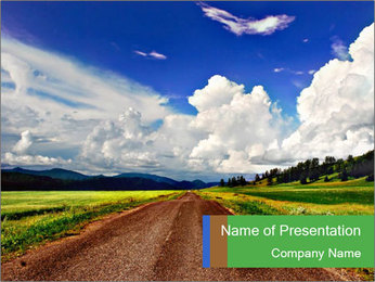 White Clouds over Empty Road PowerPoint Template