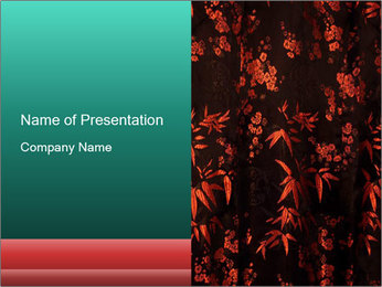 Black Silk with Red Floral Print PowerPoint Template