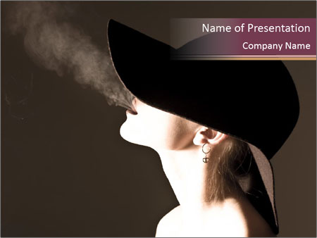 Elegant Woman Smoking Powerpoint Template Backgrounds Google