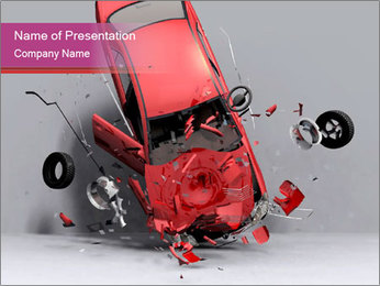 Crashed Red Car PowerPoint Template