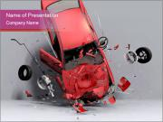 Crashed Red Car PowerPoint Templates