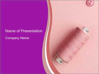 Pink Silk Bobbin PowerPoint Template