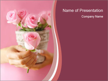 Romantic Lady with Pink Roses PowerPoint Template