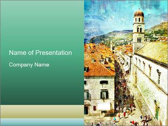 Croatia Oil Painting PowerPoint Template