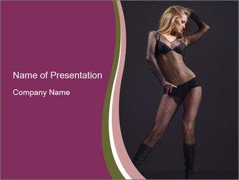 Stripper in Black Bikini PowerPoint Template