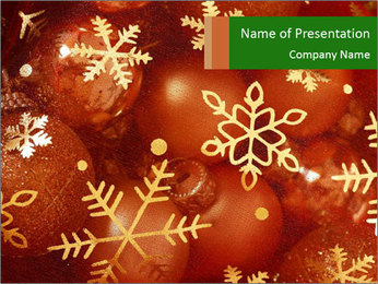 Snowflake Golden Ornament PowerPoint Template