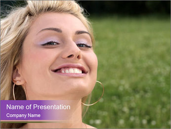 Cute Woman with Natural Make-Up PowerPoint Template
