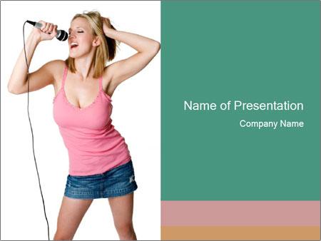 Blond woman singing in karaoke bar powerpoint template backgrounds blond woman singing in karaoke bar powerpoint template toneelgroepblik Images