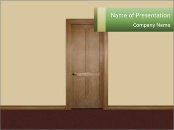 Wooden Brown Door PowerPoint Template