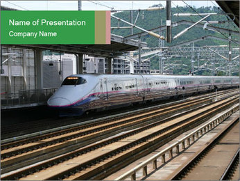 Train at the Railway Station PowerPoint Template