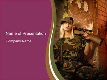 Brave Woman Soldier PowerPoint Template