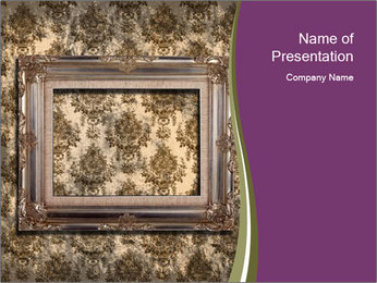 Vintage Photo Frame Hanging on Grungy Wallpaper PowerPoint Template