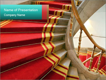 Stairwell with Red Carpet PowerPoint Template