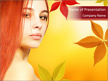 Red-Haired Woman over Autumn Background Modèles des présentations  PowerPoint