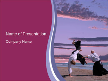 Martial Arts Master and Student PowerPoint Template