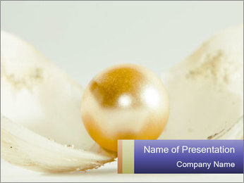 Golden Pearl in Shell PowerPoint Template