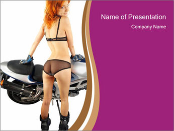 Bike and Woman in Black Lingerie PowerPoint Template