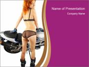 Bike and Woman in Black Lingerie PowerPoint Templates