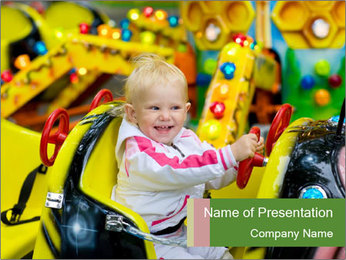 Small Boy at Amusement Park PowerPoint Template