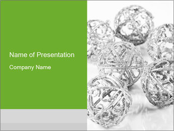 Siver Balls for New Year Tree PowerPoint Template