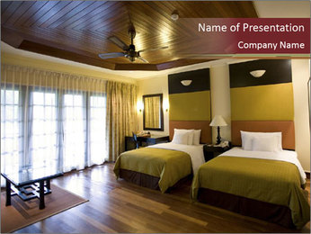 Double Hotel Room PowerPoint Template