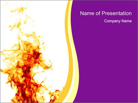 Fire Flame On White Background Powerpoint Template Backgrounds