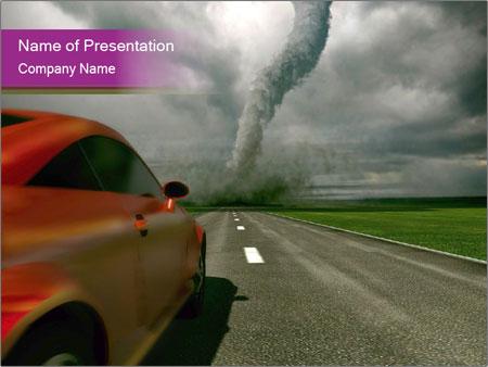 3d car driving towards tornado powerpoint template & backgrounds, Modern powerpoint