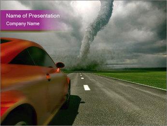 3D Car Driving Towards Tornado PowerPoint Template