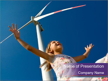 Girl and Windmill PowerPoint Template