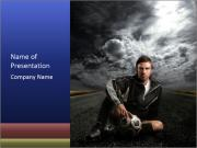 Soccer Player Sitting on Road PowerPoint Templates