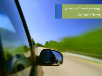Vehicle Driving on the Road PowerPoint Template