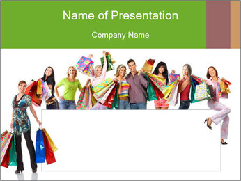 Crowd with Shopping Bags and White Board PowerPoint Template