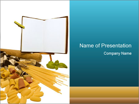 italian pasta and recipe book. powerpoint template & backgrounds, Modern powerpoint