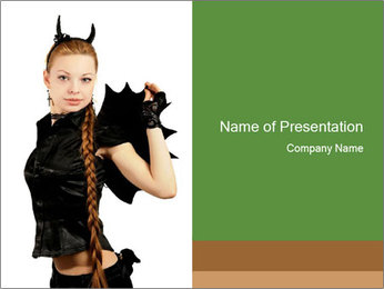 Girl in a Black Devil Costume PowerPoint Template