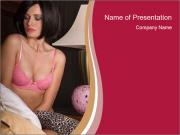 Woman in Pink Bra PowerPoint Templates