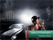 Rich Woman with Luxury Car PowerPoint Templates