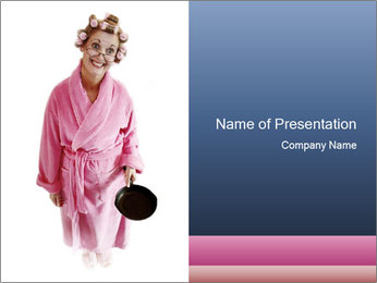 Housewife in Pink Dressing Gown Holding Cooking Pan PowerPoint Template