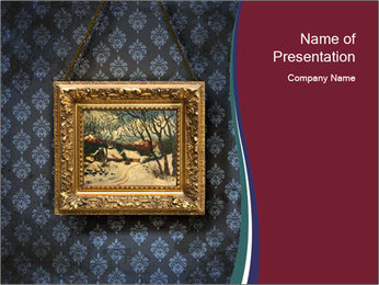 Oil Painting in Golden Frame PowerPoint Template