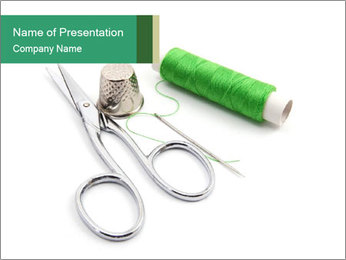 Sewing Stuff and Green Thread PowerPoint Template