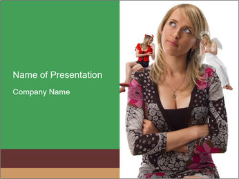 Devil and Angel Sitting on Woman's Shoulders PowerPoint Template