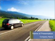 Family Car on the Road PowerPoint Templates