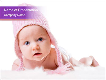 Baby Girl in Pink Knitted Cap PowerPoint Template