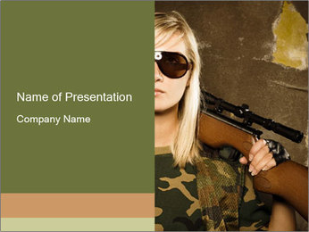 Woman in Army PowerPoint Template